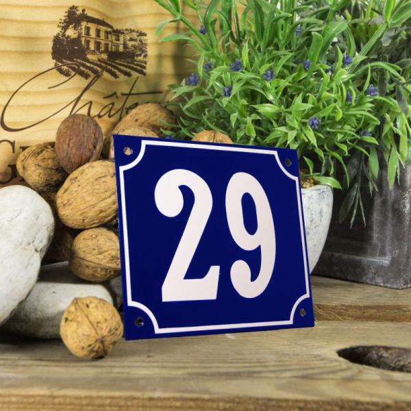 Huisnummerbord groot blauw nummer 29