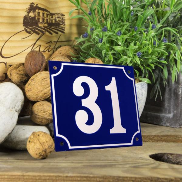 Huisnummerbord groot blauw nummer 31