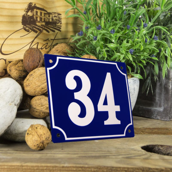 Huisnummerbord groot blauw nummer 34