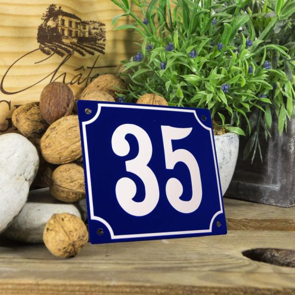 Huisnummerbord groot blauw nummer 35