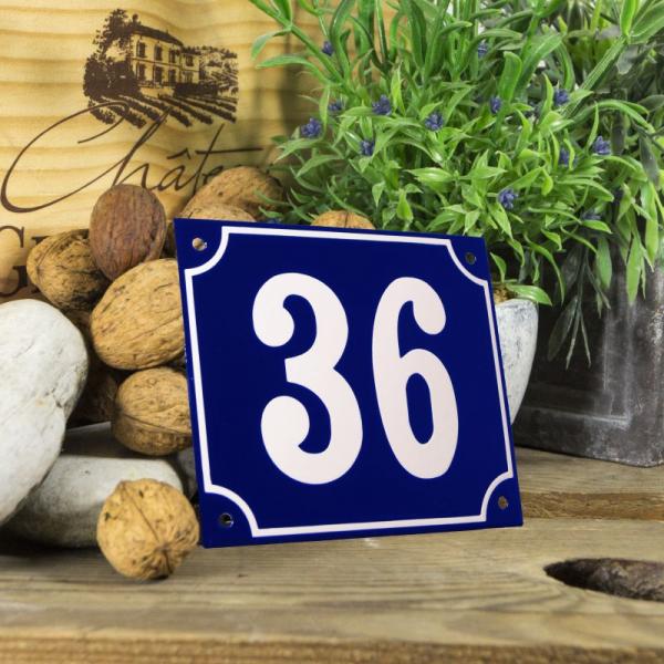 Huisnummerbord groot blauw nummer 36