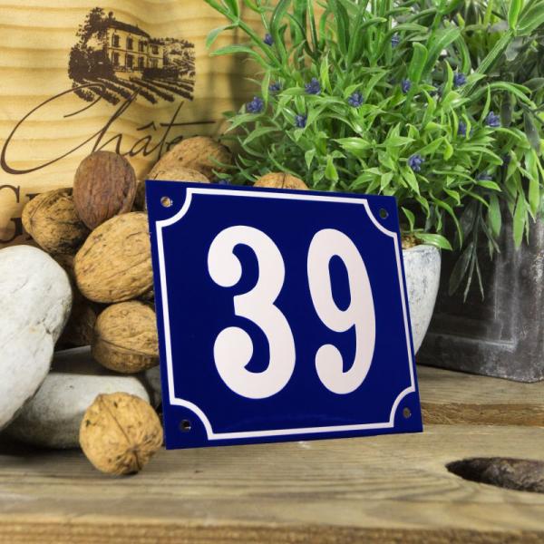 Huisnummerbord groot blauw nummer 39