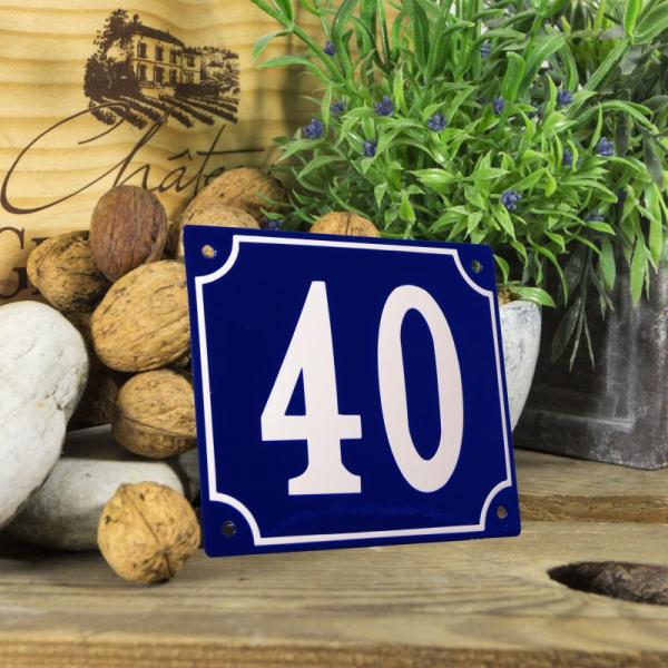 Huisnummerbord groot blauw nummer 40