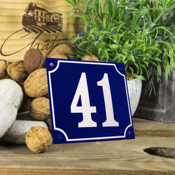Huisnummerbord groot blauw nummer 41