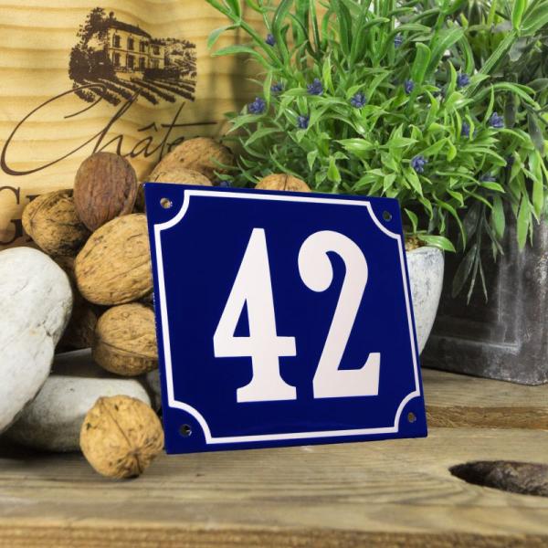 Huisnummerbord groot blauw nummer 42