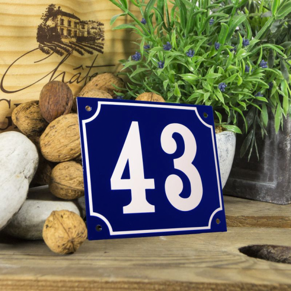 Huisnummerbord groot blauw nummer 43