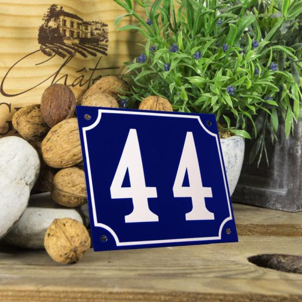 Huisnummerbord groot blauw nummer 44