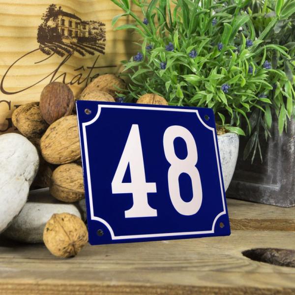 Huisnummerbord groot blauw nummer 48