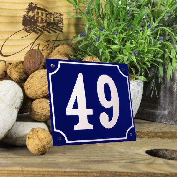 Huisnummerbord groot blauw nummer 49