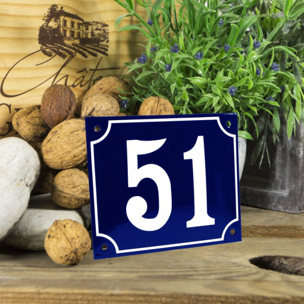Huisnummerbord groot blauw nummer 51