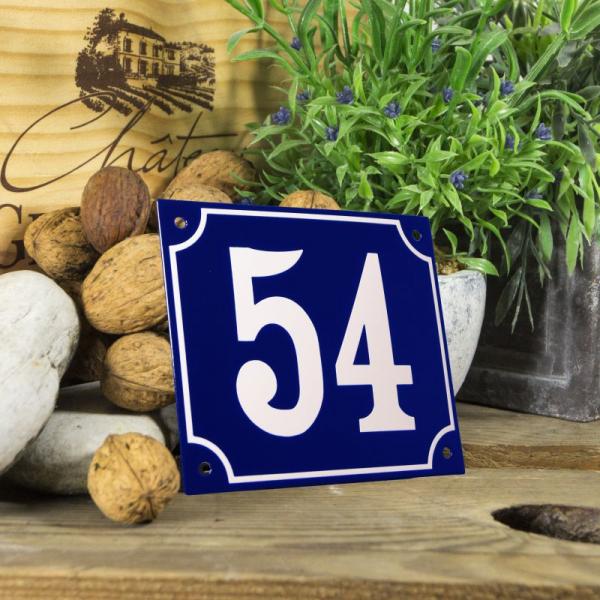 Huisnummerbord groot blauw nummer 54