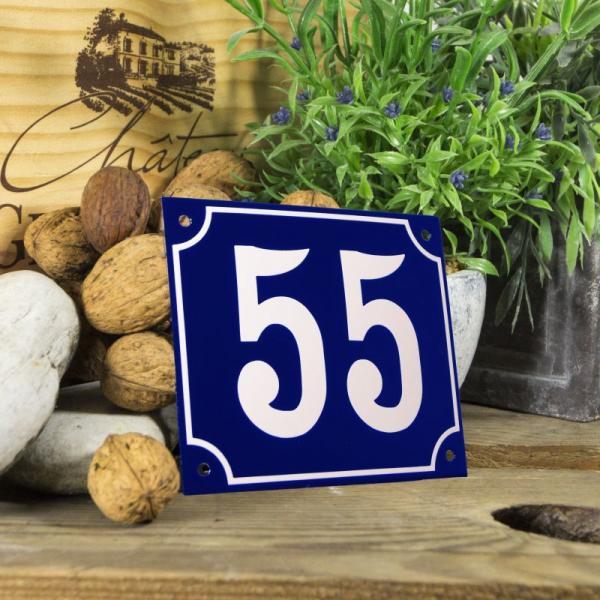 Huisnummerbord groot blauw nummer 55