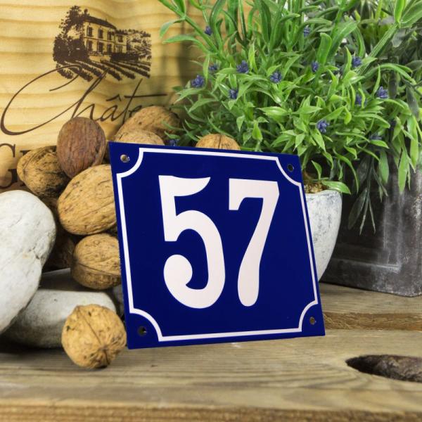 Huisnummerbord groot blauw nummer 57