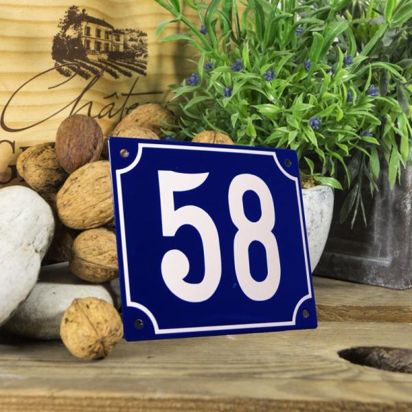 Huisnummerbord groot blauw nummer 58
