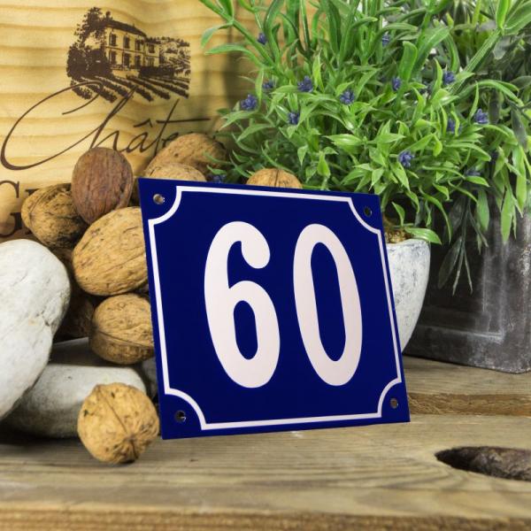 Huisnummerbord groot blauw nummer 60