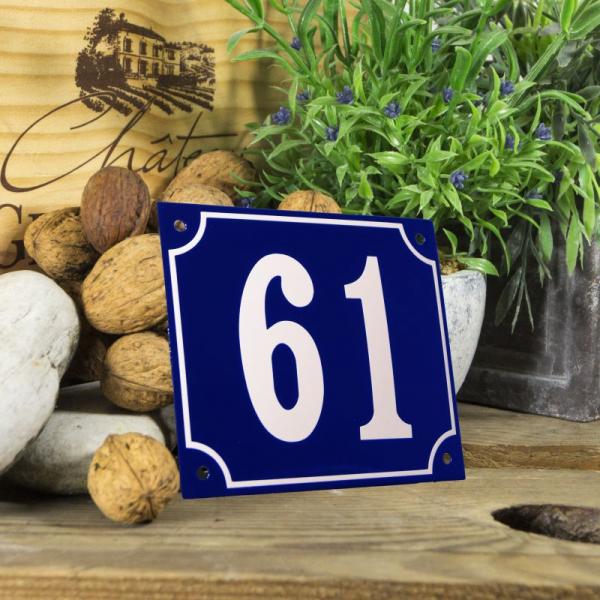 Huisnummerbord groot blauw nummer 61