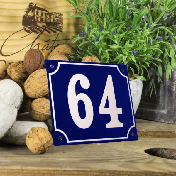 Huisnummerbord groot blauw nummer 64