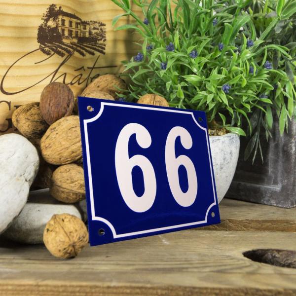 Huisnummerbord groot blauw nummer 66