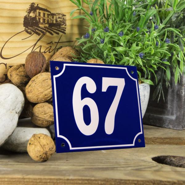 Huisnummerbord groot blauw nummer 67
