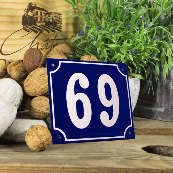 Huisnummerbord groot blauw nummer 69
