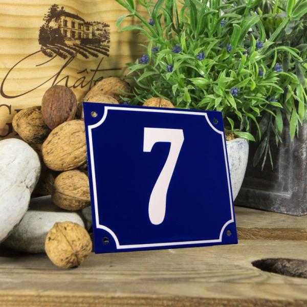 Huisnummerbord groot blauw nummer 7