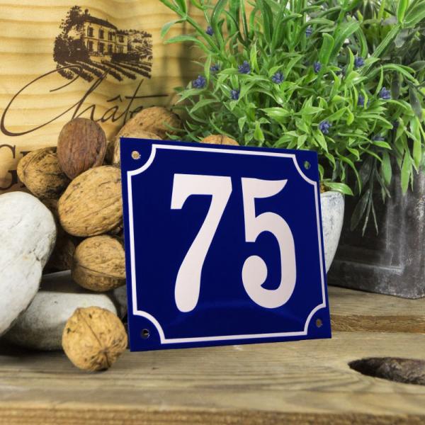 Huisnummerbord groot blauw nummer 75