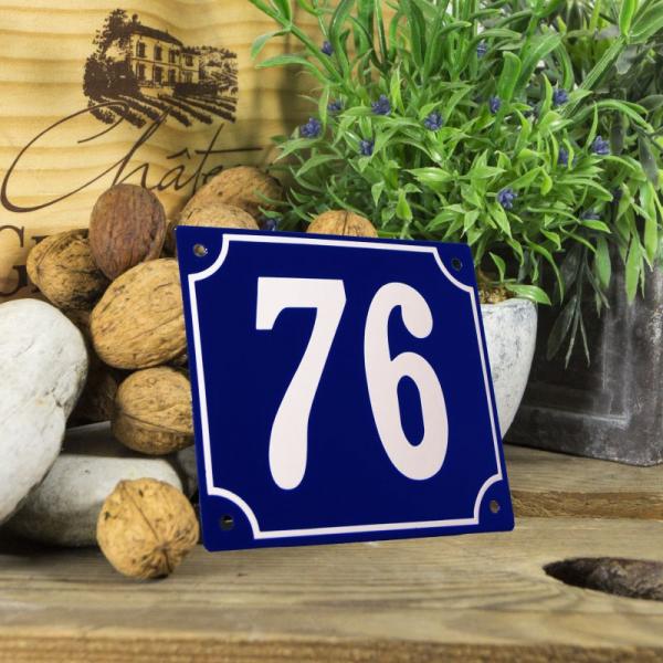 Huisnummerbord groot blauw nummer 76