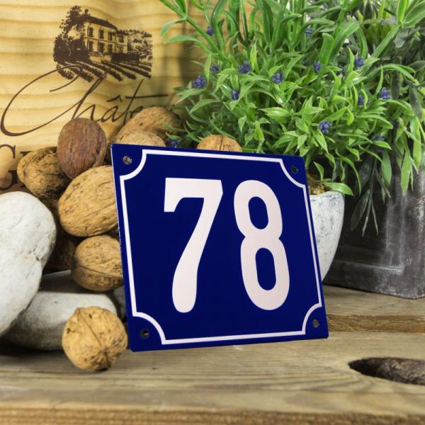 Huisnummerbord groot blauw nummer 78