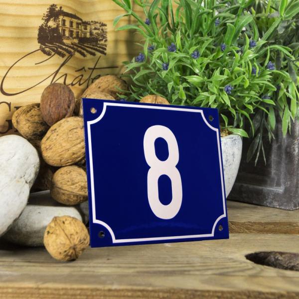 Huisnummerbord groot blauw nummer 8