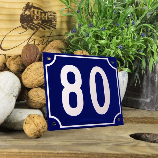 Huisnummerbord groot blauw nummer 80