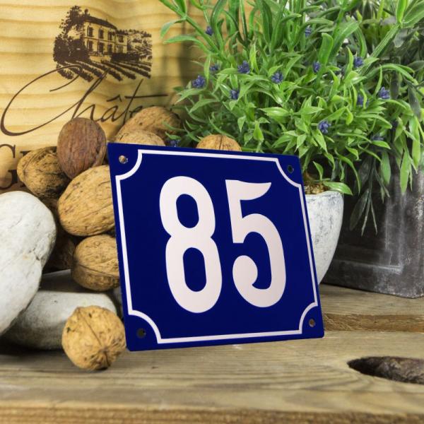 Huisnummerbord groot blauw nummer 85