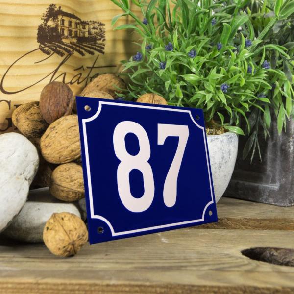 Huisnummerbord groot blauw nummer 87