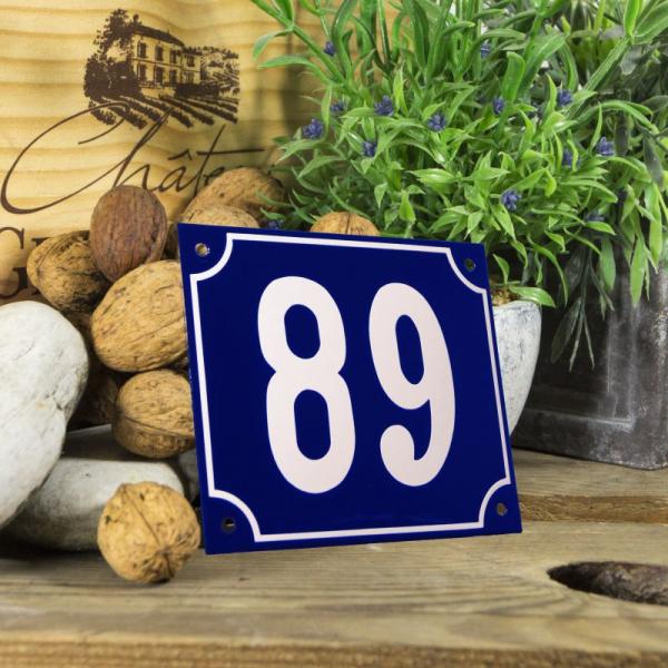 Huisnummerbord groot blauw nummer 89