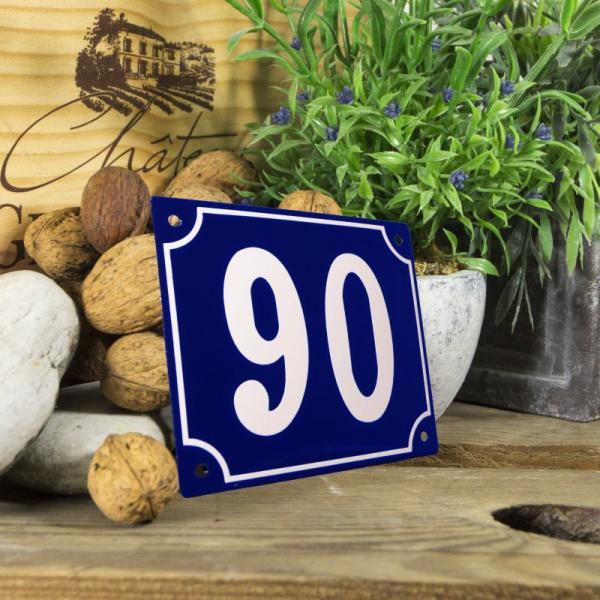 Huisnummerbord groot blauw nummer 90