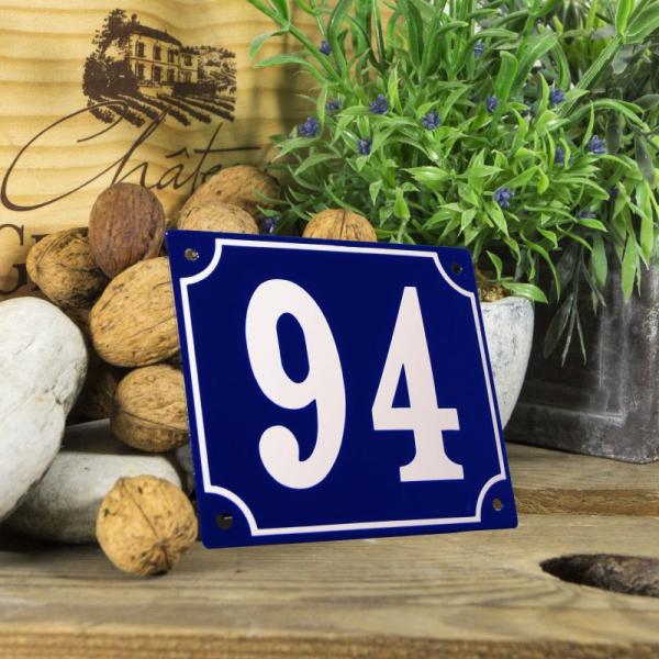 Huisnummerbord groot blauw nummer 94