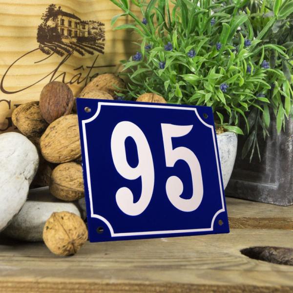 Huisnummerbord groot blauw nummer 95