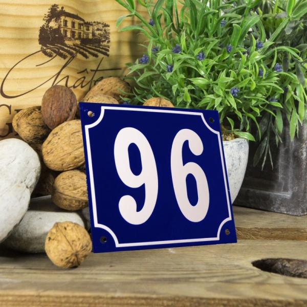 Huisnummerbord groot blauw nummer 96