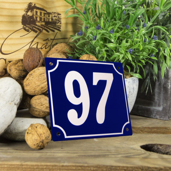 Huisnummerbord groot blauw nummer 97