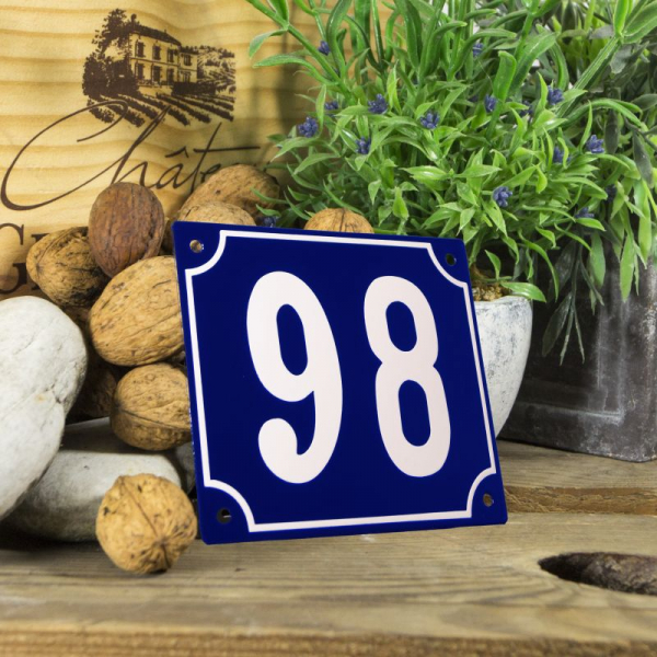 Huisnummerbord groot blauw nummer 98