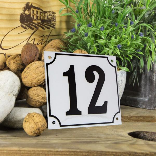 Huisnummerbord groot wit nummer 12