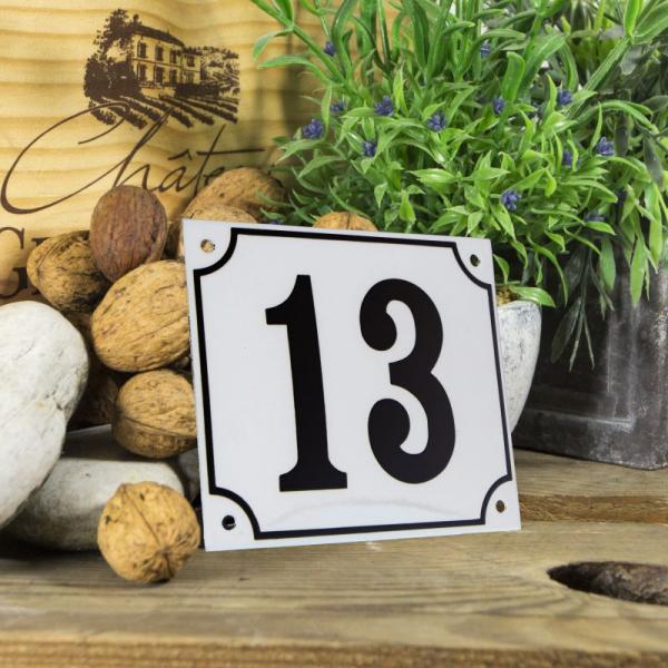 Huisnummerbord groot wit nummer 13
