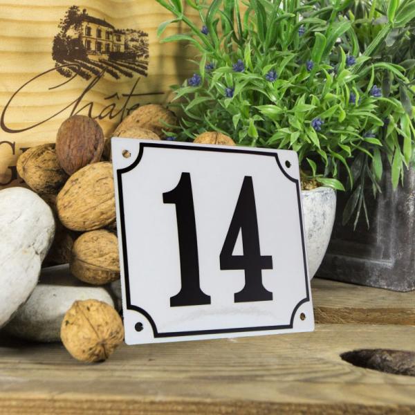Huisnummerbord groot wit nummer 14