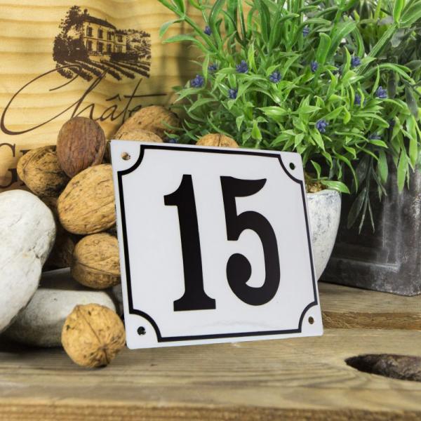 Huisnummerbord groot wit nummer 15