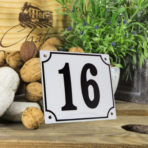 Huisnummerbord groot wit nummer 16