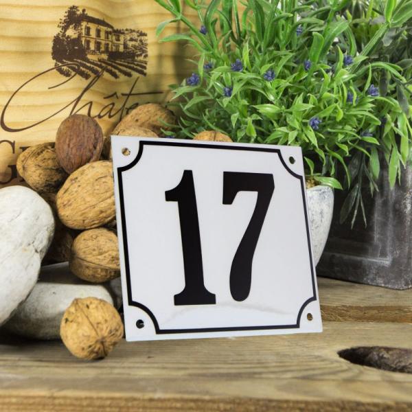 Huisnummerbord groot wit nummer 17
