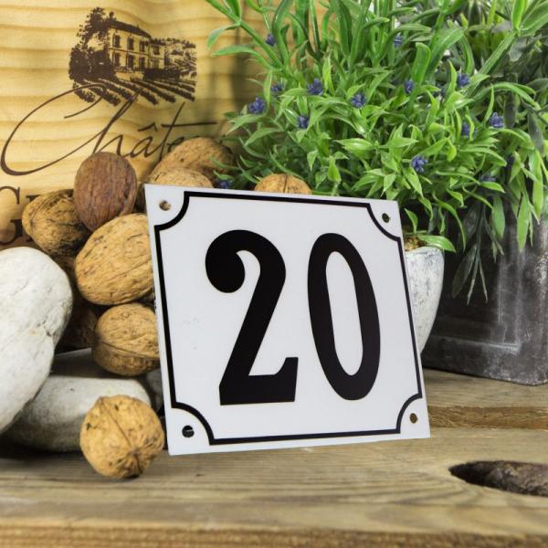 Huisnummerbord groot wit nummer 20