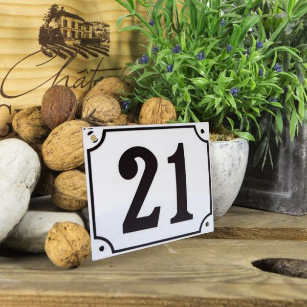 Huisnummerbord groot wit nummer 21