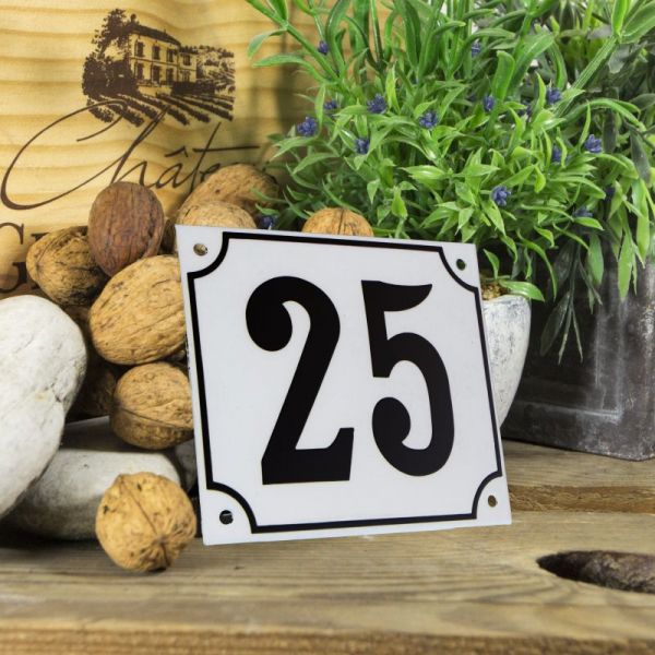 Huisnummerbord groot wit nummer 25