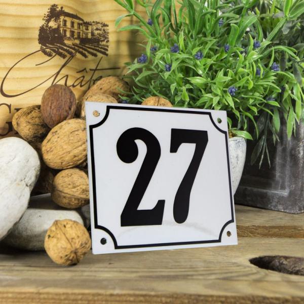 Huisnummerbord groot wit nummer 27