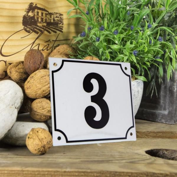 Huisnummerbord groot wit nummer 3